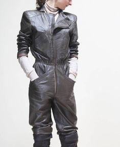 a813534401a9 vintage 80s original grey-brown leather JUMPSUIT    S size