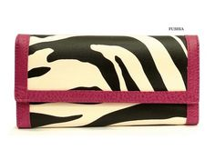 "Fuchsia Trim Zebra Animal Print Check Book Wallet  Simulated textured leather like material, Fuchsia pebble like trim, back zipper pocket, push buttom closure, removable matching checkbook cover, 2 bill slots, 14 card slots, clear picture window slot,  meassures approx. 7.5"" long x 4"" wi..."
