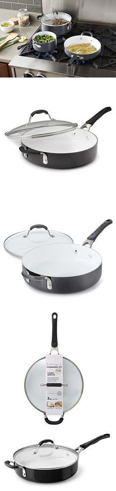 Calphalon Ceramic Nonstick Cookware Saute Pan with Lid, 3 qt., Black