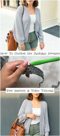 How To Crochet the Cardigan Sweater Free Pattern & Video Tutorial - Crochetopedia Knitting TechniquesKnitting HatCrochet BlanketCrochet Scarf Quick Crochet, Free Crochet, Knit Crochet, Doilies Crochet, Crochet Sweaters, Layette Pattern, Armband Diy, Knitting Patterns, Crochet Cardigan Pattern Free Women