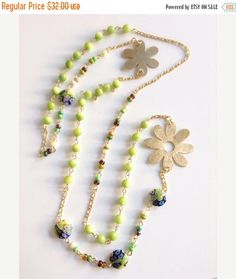 15% off Mothers Day Gift Sale Long gold statement green Necklace, Gold Flower Charm, 1 strand statement necklace, Mother of pearl gold filled chain,