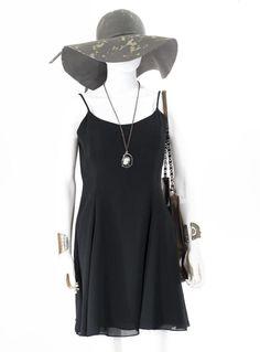 Vintage LBD Fit and Flare Sundress Black Mini Dress Size Medium #HamptonNightsPetites #fitandflare #casual