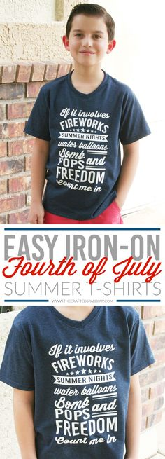 Easy iron on fourth of July tshirt for girls or boys. This unisex design looks great on any tshirt for adults or children. All you need is your trusty Silhouette Cameo and some heat transfer vinyl to create a custom patriotic tshirt.  DIY fourth of july tshirt. July 4. Independence Day. Patriotic. Red, white, and blue. Fourth of July outfit. Summer party outfit.