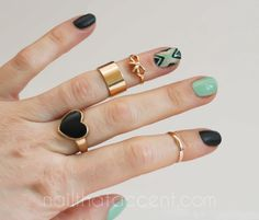 nails, nail art, nail photography, photgraphy, midi rings, mint, black, gold, tribal nails, ruffian, ruffian nails, ruffian nail art, pretty...