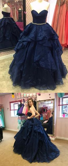 2018 strapless navy blue long prom dress ball gown, Quinceanera Dress, Sweet 16 Dress