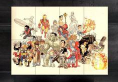 Mega póster Los Vengadores, 8 partes 118x84cm Estupendo mega póster con la imagen de Los Vengadores en formato Caricatura con unas medidas de 118x84cm.