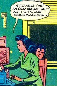 """Comic Girls Say.. """"Strange ! I've an odd sensation as tho I where being watched.."""" #comic #popart #vintage"""