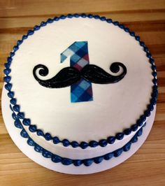One year old smash cake mustache one