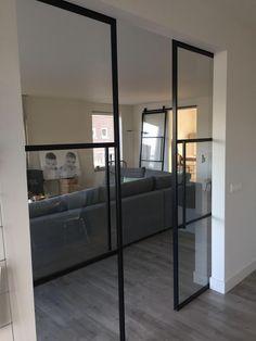Love this style glass pocket doors Interior Pocket Doors, Interior Barn Doors, Door Design, House Design, Interior Decorating, Interior Design, Sliding Doors, Entry Doors, Wood Doors