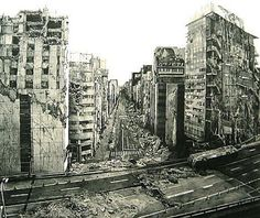 Neo-Ruins - Lithograph of Post apocalyptic Tokyo by Hisaharu Motoda Post Apocalyptic City, Arte Zombie, Ruined City, Apocalypse Art, City Sketch, Matte Painting, Chernobyl, End Of The World, Abandoned Places