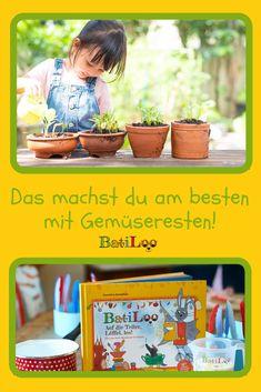 Erbsen, Ingwer, Knoblauch, Karottengrün und Zwiebelwurzel - all dieses Gemüse und die Reste daraus kannst du wieder einsetzen und so neuem Gemüse beim Wachsen zusehen! Lass deine Kids beim Gärtnern helfen - sie werden begeistert und überglücklich sein, wenn das Gemüse wieder neu wächst!   #nachhaltigalsfamilie #kinderkochbuch #kochbuchfamilie #gemueseresteverwerten #kochenmitkindern Tricks, Breakfast, Zero, Healthy Eating For Kids, Kid Cooking, Kid Recipes, Planting Vegetables, Morning Coffee