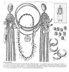 Liv/Livonian (Finnic) Iron Age women's ornament from present-day Latvia. from A. Radiņš, Ceļvedis Latvijas senvēsturē. For a nice summary of a very thorough book on the subject of Liv/lībiešu/Livonian tortoise brooches and chain ornaments from Latvia, read here: http://briai.ku.lt/downloads/AB/12/12_137-139_Reviews.pdf