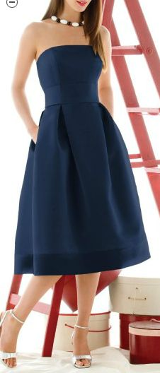 ALFRED SUNG BRIDESMAID DRESS  STYLE D416, COLOR MIDNIGHT  tea length strapless dress in Duchess Satin has inverted pleats at the natural waist and pockets in the side seams. The sash and hem can match the main color or add a splash of contrast.  $144.00