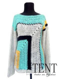 Tienda TENT by Roxana Galindez - Tejidos Artesanales: Sweaters OPALO geométrico