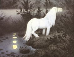 "A ""Nokk"" or water horse fairy. They would entice humans to climb on their backs, then take them on a wild ride ending by plunging back into their lake to drown them. By Theodor Kittelsen"