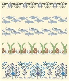 Wasps and flies, fish, ducks, peacocks | Chart for cross stitch borders.