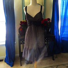 Gorgeous Anthropologie Dress NWT beautiful evening dress. She'll is 100% nylon lining is 100% rayon and the trim is 100% silk. Dry clean. Anthropologie Dresses