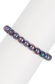 Honora Pearls Black 7-8mm Freshwater Pearl Stretch Bracelet
