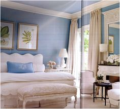 pale blue grasscloth walls and blue ceiling