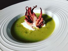 Gazpacho verde con polpo e burrata Party Finger Foods, Finger Food Appetizers, Appetizer Recipes, Gourmet Food Plating, Gourmet Recipes, Cooking Recipes, Food Humor, Funny Food, Vegetables