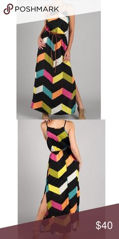 Chevron maxi dress Tank colorful chevron print maxi dress with braided belt and side slits. 100% polyester. True to size Dresses Maxi