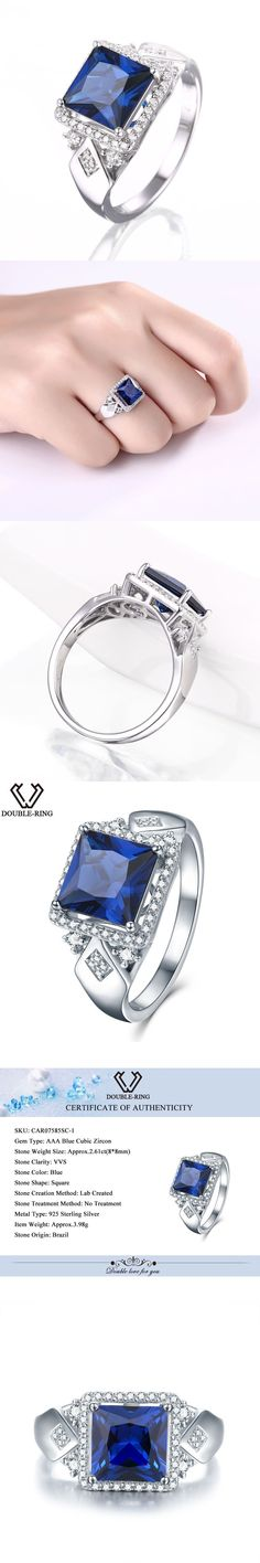 DOUBLE-R 925 Sterling Silver Jewelry Wedding Engagement Created Sapphire vintage Fine Jewelry Rings for women alibaba express #silverjewelry