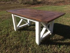 ****PLEASE INQUIRE FOR SHIPPING RATES***  This listing is for a beautiful, handmade square x farmhouse style table. All tables are 37 inches wide and lengths varying from 60-120. We use the best quality lumber and finishes for a wonderful quality product every time. Each table is made to order and we customize each per your desired measurements, gel stain and paint color choices. Due to the character found in the all wood, variations in the table top are to be expected and celebrated…