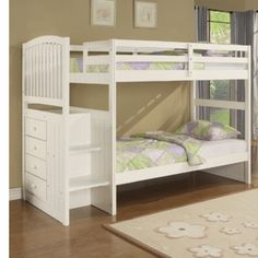 Simple Creative And Cool Staircase Bunk Bed Decorating Ideas With Underbed Double Drawer Unit And Nice Stairs Cool Kids Bedroom Space Saving Ideas Loft Bed And Bunk Beds With Closet And Hidden Storage Unit Girls Bunk Beds, White Bunk Beds, Loft Bunk Beds, Wooden Bunk Beds, Bunk Beds With Storage, Bunk Bed With Trundle, Kura Bed, Bed Storage, Kid Beds