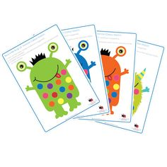 Kids printable pom pom learning Lil' monster
