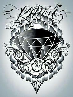 Grey Roses And Diamond Tattoo Design : Diamond Tattoos Diamond Tattoo Designs, Diamond Tattoos, Rose Tattoos, Body Art Tattoos, Hand Tattoos, Sleeve Tattoos, Tatoos, Gangster Tattoos, Chicano Tattoos