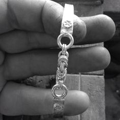 """Forged silver cuff with """"Byzantine"""" chain central feature. By Gecko Skin Jewellery."""