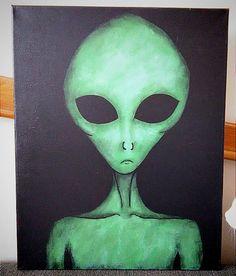 """16x20"""" Alien Canvas Painting"""