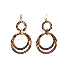Bellissima Leopard Triple Circle-Drop Earrings ($42) ❤ liked on Polyvore