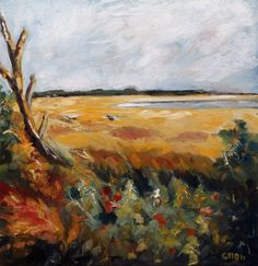 Summer Marsh Coastal River Marsh Landscape Original by hartart13, $225.00