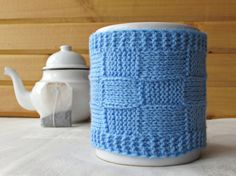 Blue Coffee Cup Cozy Knitted Mug Cozy Mother's by MyRainbowColors