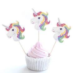 Nydelige Enhjørning Cupcake Toppere. 12 stk i pakken