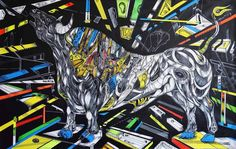 The Hero is a painting of a black bull with abstract details