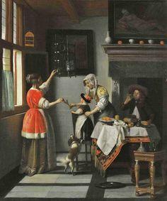 1600s Pieter de Hooch (1629-1684) Interior Child Feeding a Parrot