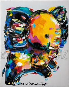 Little elephant 22×25cm by Sunthorn Phrachannok  Price: $30  Description: 22x25 cm elephant painting on white canvas