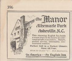 Free Vintage Clipart, Vintage Magazine Ads and Vintage Artwork Perfect for Home & Man-Cave Decor: Vintage 1918 The Manor Albemarle Park Asheville NC Original Print Ad English Inn