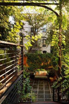 Park Slope Deck & Garden — K. Interior Garden, Interior Exterior, Exterior Design, Landscape Architecture, Landscape Design, Garden Design, Townhouse Garden, Sloped Garden, Parking Design