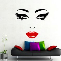 Wall Decals Woman Girl Eyes Joy Fashion Vinyl Decal Sticker Home Interior Design Art Mural Living Room Bedroom Beauty Salon Decor MN476