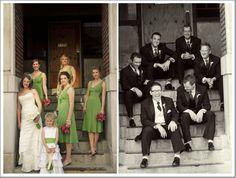 Real Wedding: Modern Elegance in Kansas City- green bridesmaid dresses