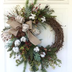 Christmas Wreath for Front Door-Cotton Boll by ReginasGarden