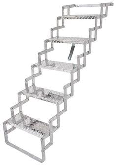 Brophy Camper Scissor Steps   5 Steps   Aluminum   Diamond Tread   18