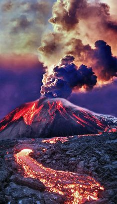 Eruption - Mt Etna, Sicily Italy. I simply love these colors. But even it seems…