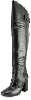 Nine West Jena Women Round Toe Leather Black Over The Knee Boot.
