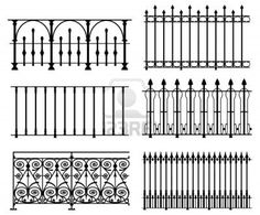 White wrought iron modular railings and fences stock photo 6309326