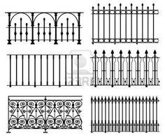 White wrought iron modular railings and fences stock photo 6309326