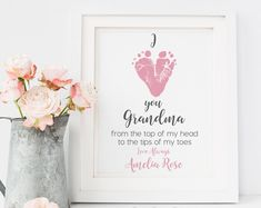 Gift for Grandmother from Baby Personalized Mother's Day Gift for New Grandma Footprint Art Print, Your Child's Feet, inches UNFRAMED Gifts For New Grandma, First Mothers Day Gifts, Gifts For New Moms, Godparent Gifts, Personalized Mother's Day Gifts, Personalized Products, I Love You Baby, Baby Kind, Lady Bug